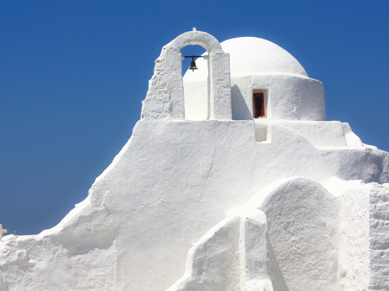 Copy of white greek orthodox church on the island of Mykonos, Greece