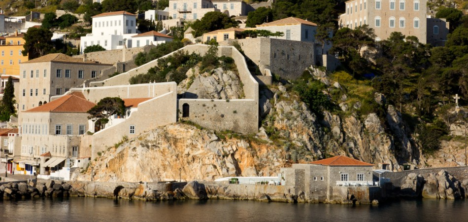fortress on the island of Hydra in Greece