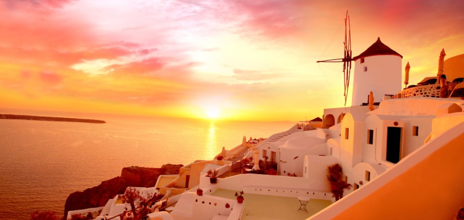 Santorini with famous windmill
