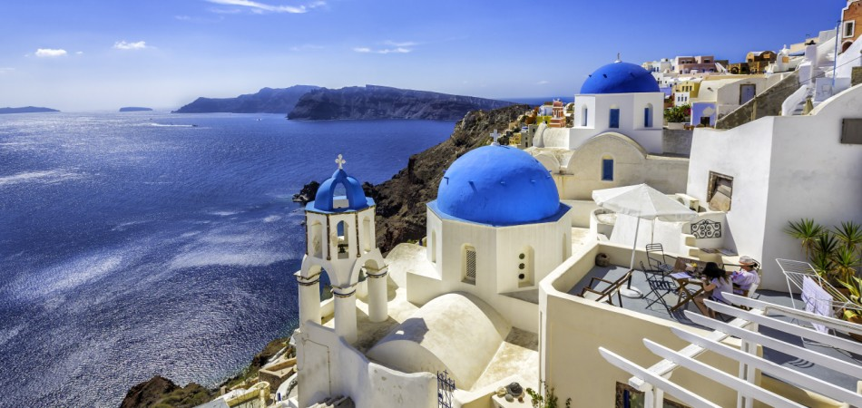 Santorini blue dome churches