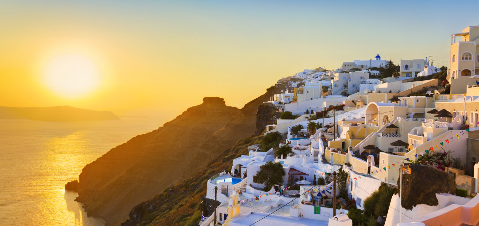 Santorini sunset (Firostefani) - Greece vacation background