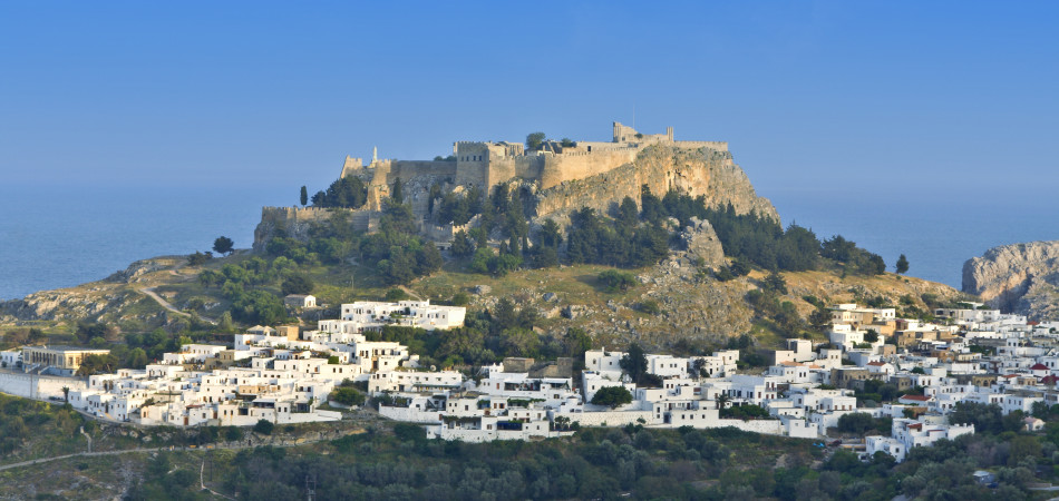Lindos village and the Acropolis at Rhodes island in Greece