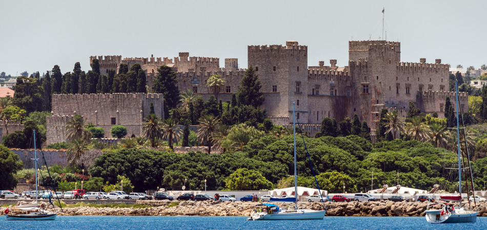 Old City of Rhodes Island, panoramic view from the sea