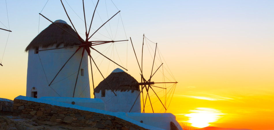 Greece Mykonos Sunset,Windmills sunset Mykonos Island Greece Cyclades