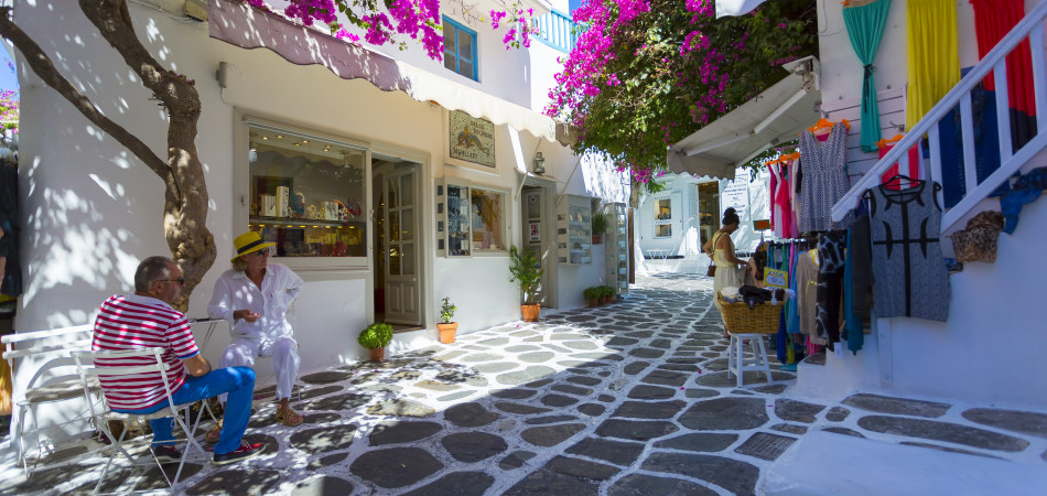 MYKONOS,GREECE - JUNE 7 The famous Matogianni street the most well known street in Mykonos island