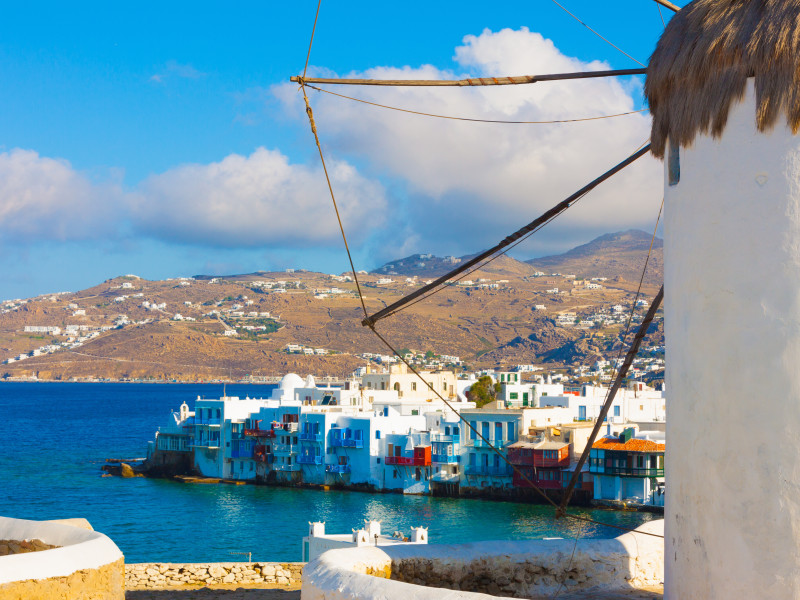 Mykonos main Capitol view from windmills Mykonos Island Greece cyclades