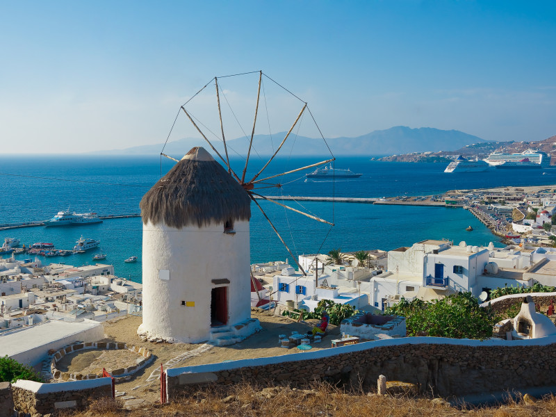 The famous windmill above the town of Mykonos in Greece