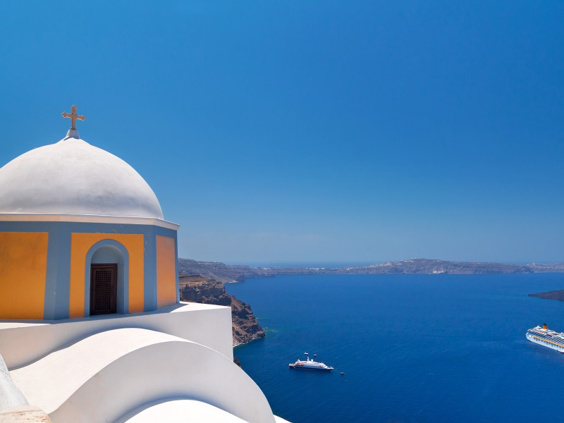 Copy of Church of Fira town at Santorini island, Greece