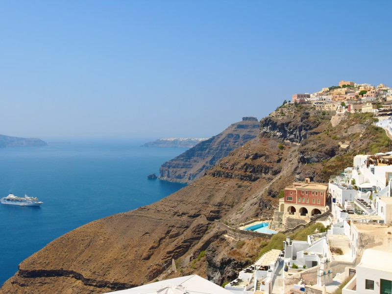 Copy of Fira village and caldera of Santorini island. Greece