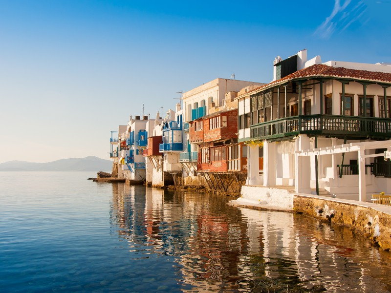 Copy of Little Venice at sunset on Mykonos Island in the Mediterranean Sea. Greece.