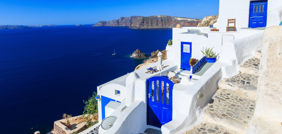 Copy of Steps and doors at the village of Oia in Santorini, Greece