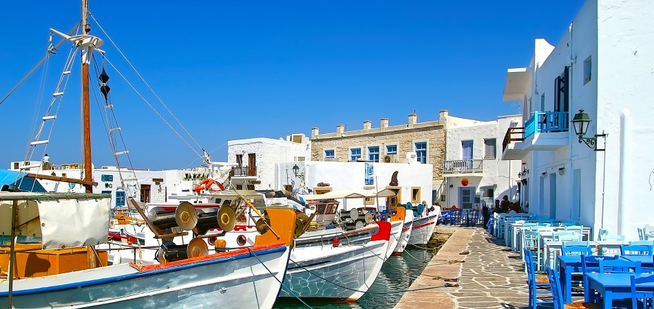 Greek fishing village in Paros Naousa Greece